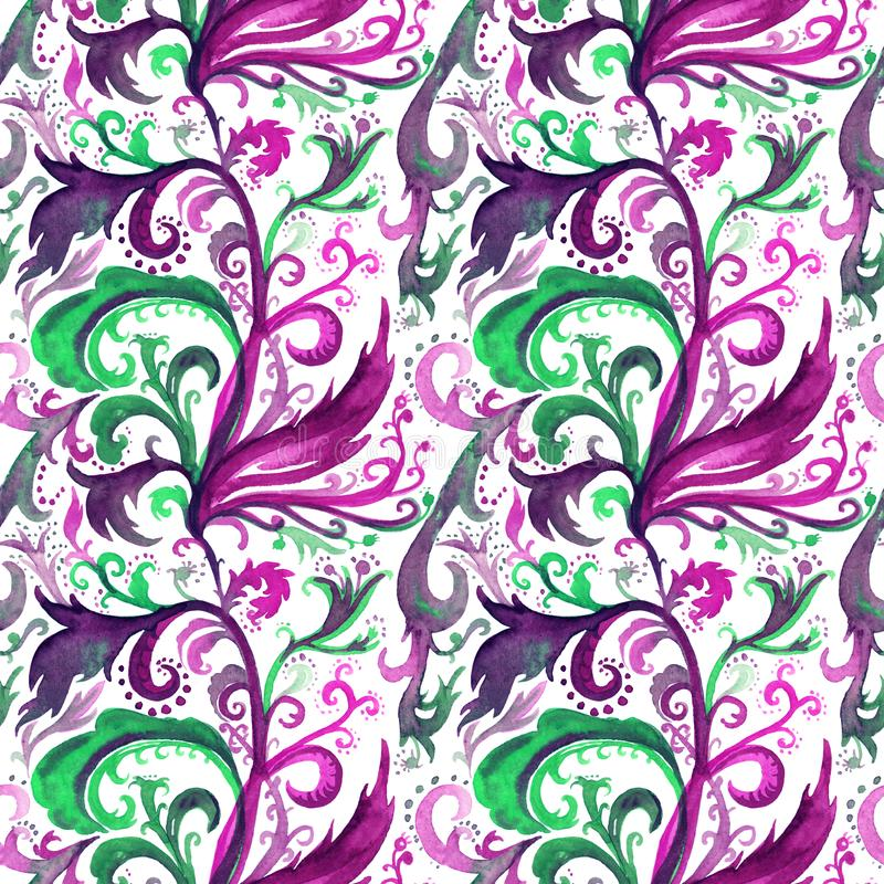 Hand drawn abstract watercolor seamless pattern with pink, purple and green floral ornament, curls, wavy lines, doodles royalty free stock photo