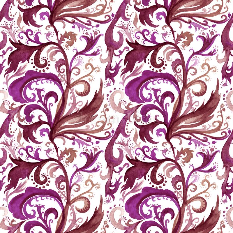 Hand drawn abstract watercolor seamless pattern with purple and brown floral ornament, curls, wavy lines, doodles on a royalty free illustration