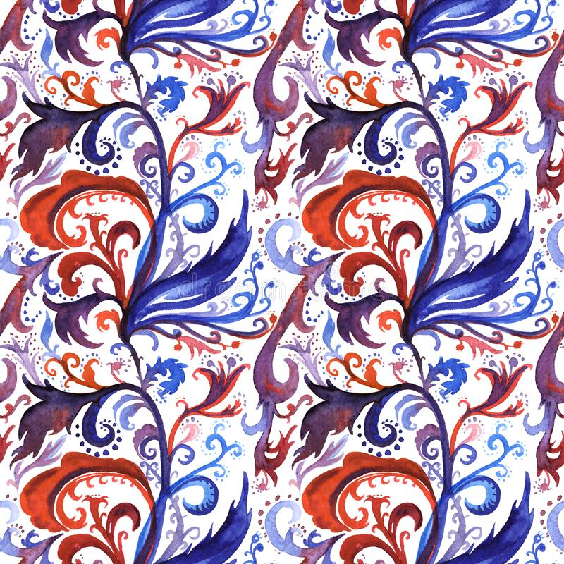 Hand drawn abstract watercolor seamless pattern with red, violet and dark blue floral ornament, curls, wavy lines stock illustration