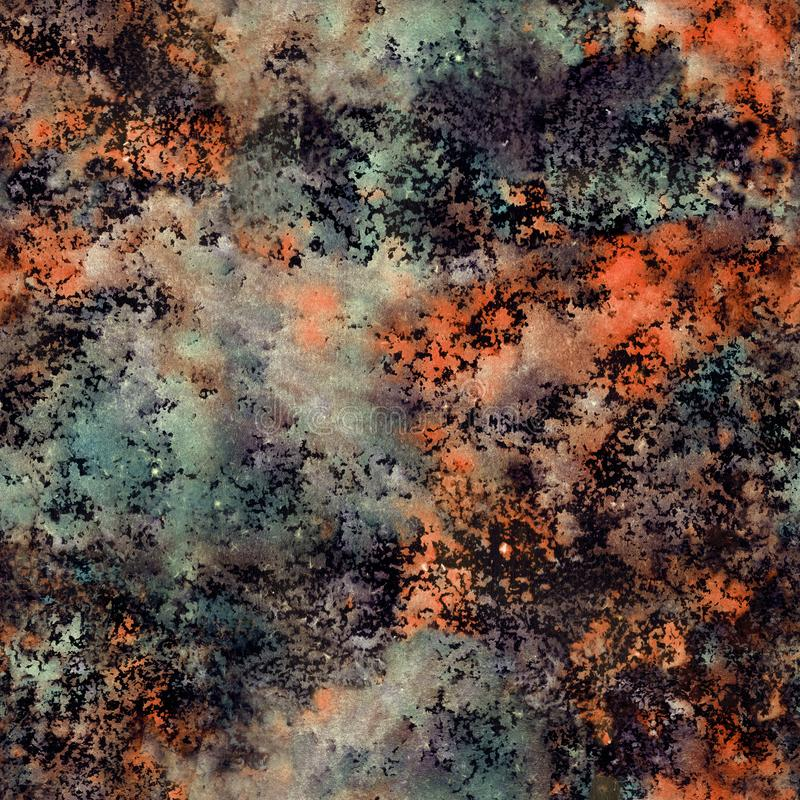 Hand drawn abstract watercolor texture with autumn colors. Hand drawn abstract grunge watercolor texture with green and rusty colors royalty free illustration