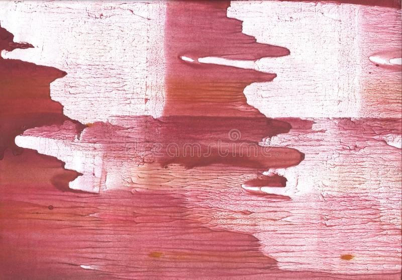 Crimson streaked watercolor painting. Hand-drawn abstract watercolor texture. Used contrasting and transient colors royalty free stock photography