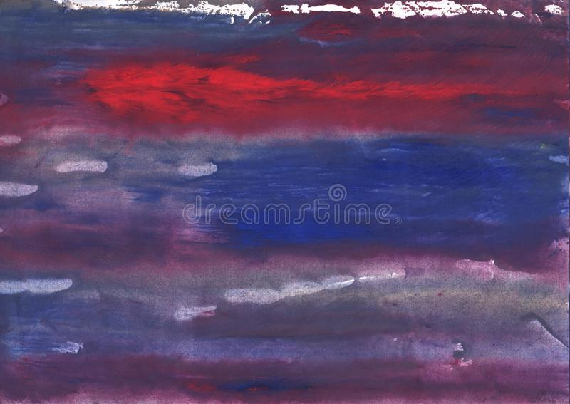 Red Blue nebulous watercolor background. Hand-drawn abstract watercolor texture. Used contrasting and transient colors royalty free stock photo