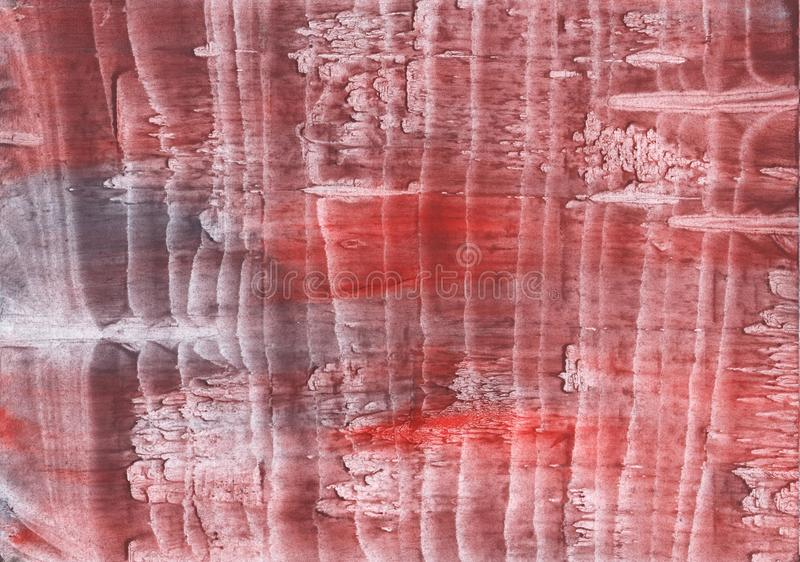Striped red watercolor design. Hand-drawn abstract watercolor texture. Used contrasting and transient colors royalty free stock photography