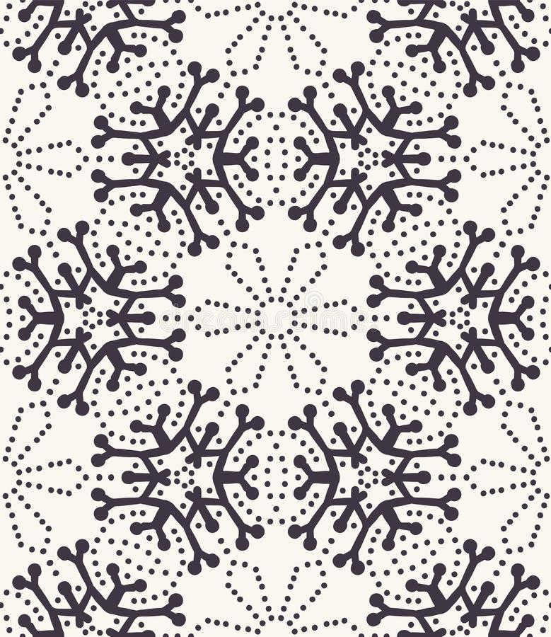 Hand drawn abstract winter snowflakes pattern. Stylish crystal stars. Black white background. Elegant simple holiday all over stock illustration