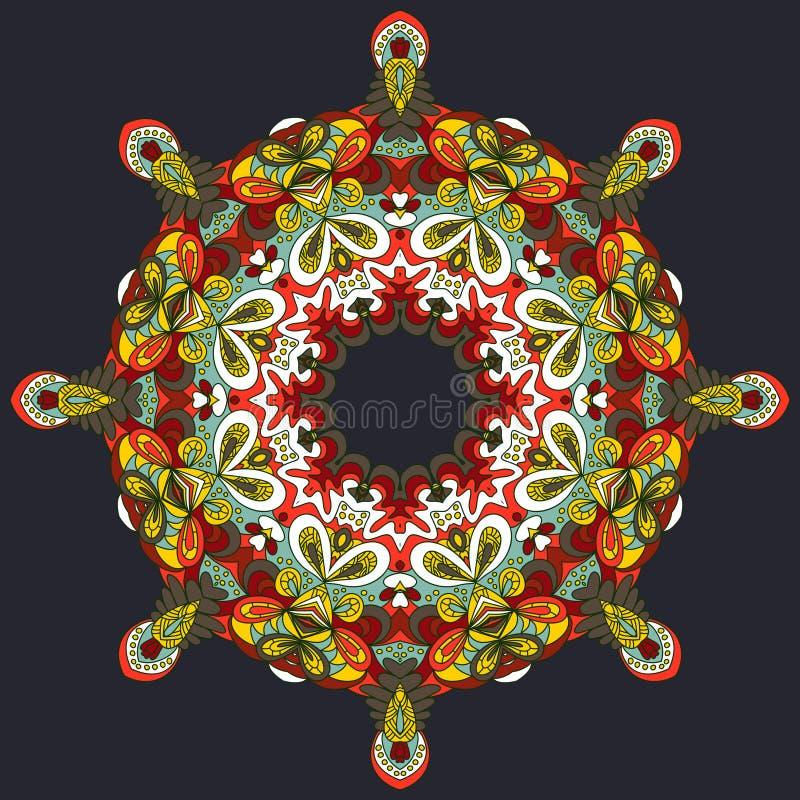 Hand-drawn abstracte achtergrond van het cirkelkant Ornamentkaart Sier rond patroon stock illustratie