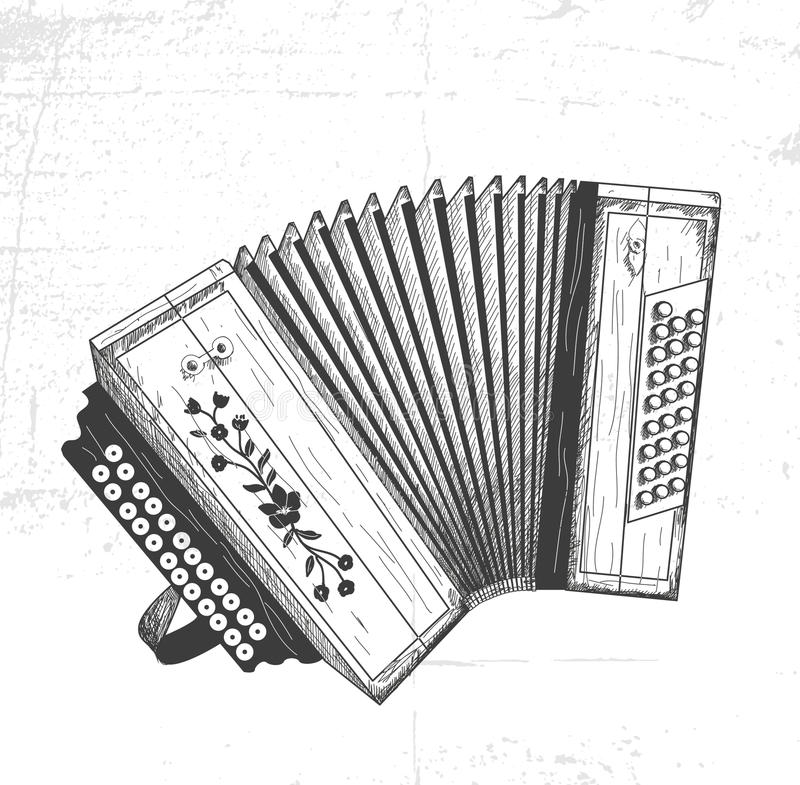 Hand drawn accordion. Vector accordion royalty free illustration