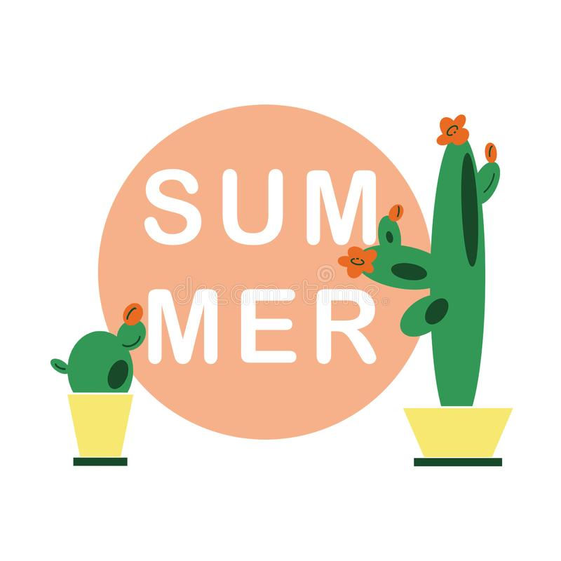 Hand-drawn achtergrond van de illustratiezomer met cactussen in potten in vlakke beeldverhaalstijl vector illustratie