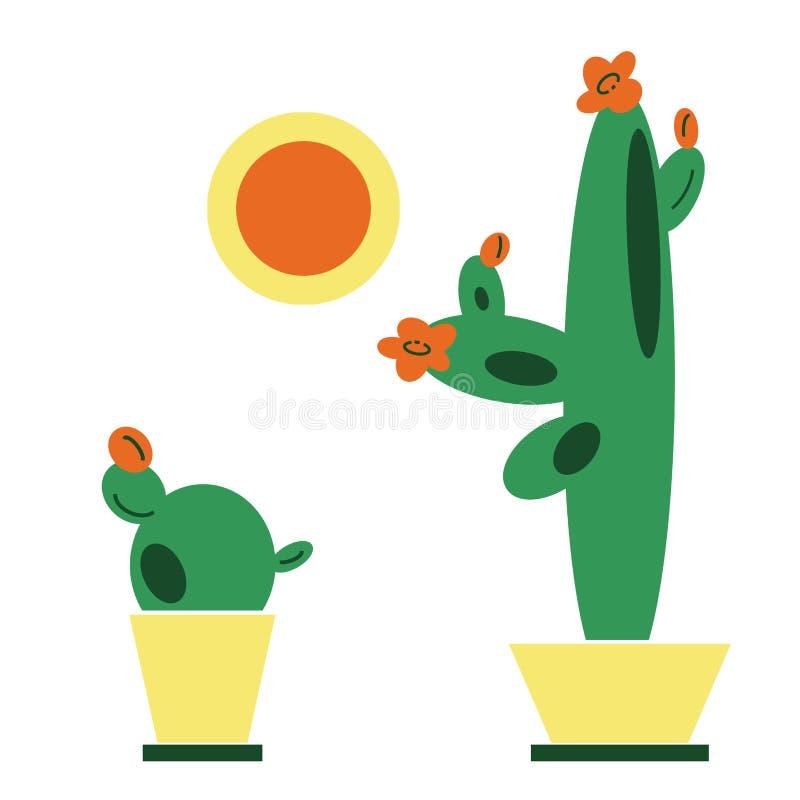 Hand-drawn achtergrond van de illustratiezomer met vastgestelde cactussen in potten en zon in vlakke beeldverhaalstijl stock illustratie