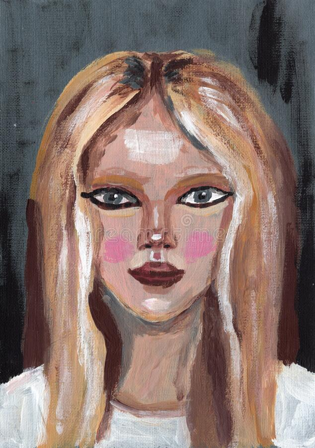 Hand drawn acrylic paint illustration. Young pretty woman. Girl with blonde hair and gray eyes abstract artwork. Beautiful female. Face on gray background. For stock image