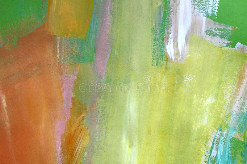 Hand drawn acrylic painting. Abstract art background. Closeup shot of strokes colorful acrylic paint on canvas with brush strokes stock image
