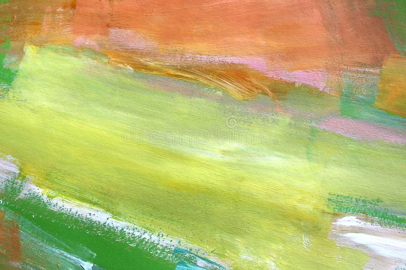Hand drawn acrylic painting. Abstract art background. Closeup shot of strokes colorful acrylic paint on canvas with brush strokes stock photos