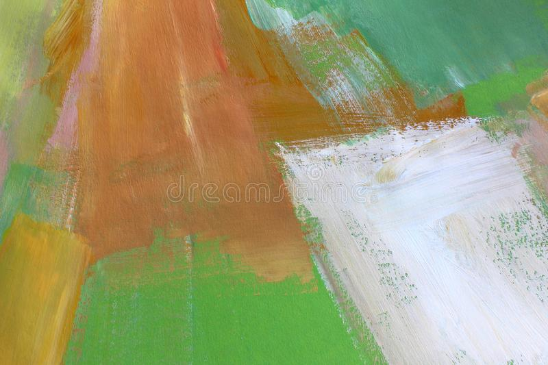 Hand drawn acrylic painting. Abstract art background. Closeup shot of strokes colorful acrylic paint on canvas with brush strokes royalty free stock photo