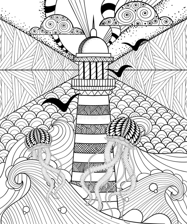 Hand drawn adult coloring page, artistically Sea with ethnic Lighthouse, patterned Jellyfish and ornamental clouds in doodle, zen royalty free illustration