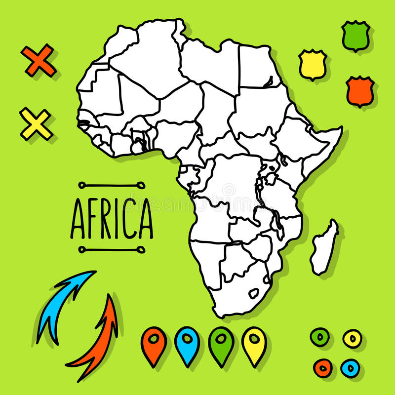 Hand drawn Africa travel map with pins vector vector illustration