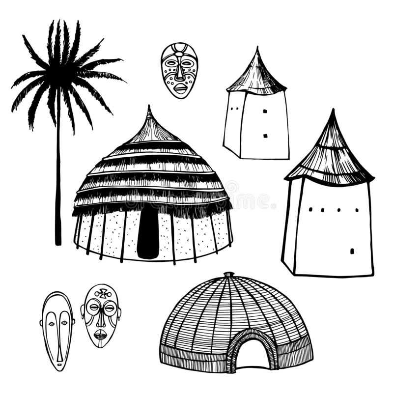 African huts and houses. Vector sketch illustration. Hand drawn african huts and houses on white background.  Vector sketch illustration vector illustration