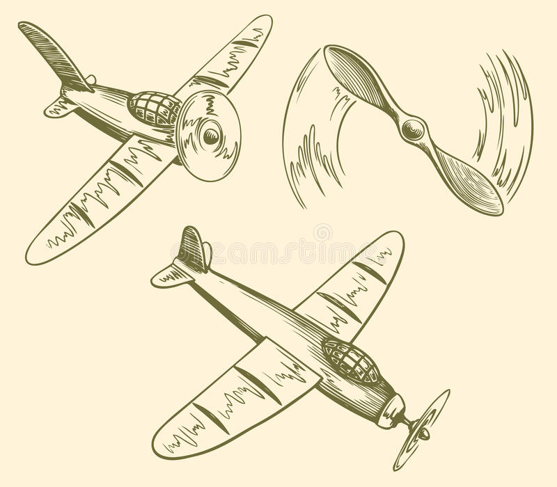 Hand drawn airplanes in the sky vector illustration