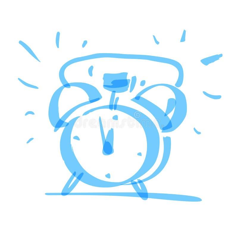 Hand drawn alarm clock, vector. Hand drawn marker alarm clock, vector illustration royalty free illustration