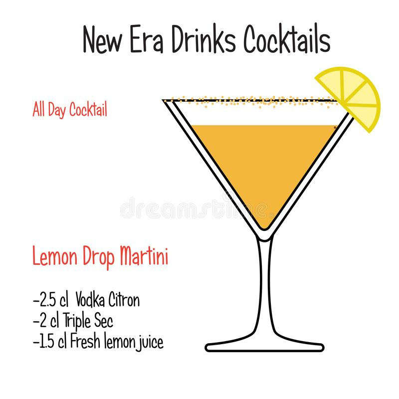 Lemon Drop martini alcoholic cocktail vector illustration recipe isolated. Hand drawn alcoholic drinks,lemon Drop martini alcoholic cocktail vector illustration royalty free illustration