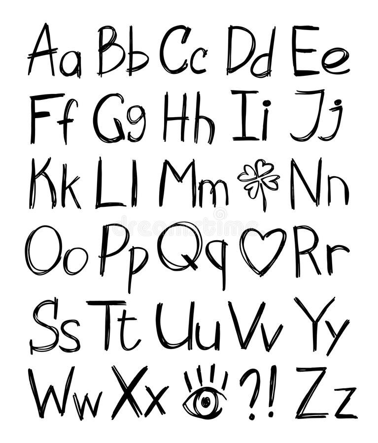 Download Hand drawn alphabet stock vector. Image of collection - 18594891