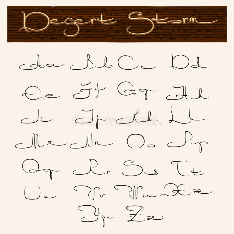 Download Hand Drawn Alphabet In Arabic Style Stock Vector