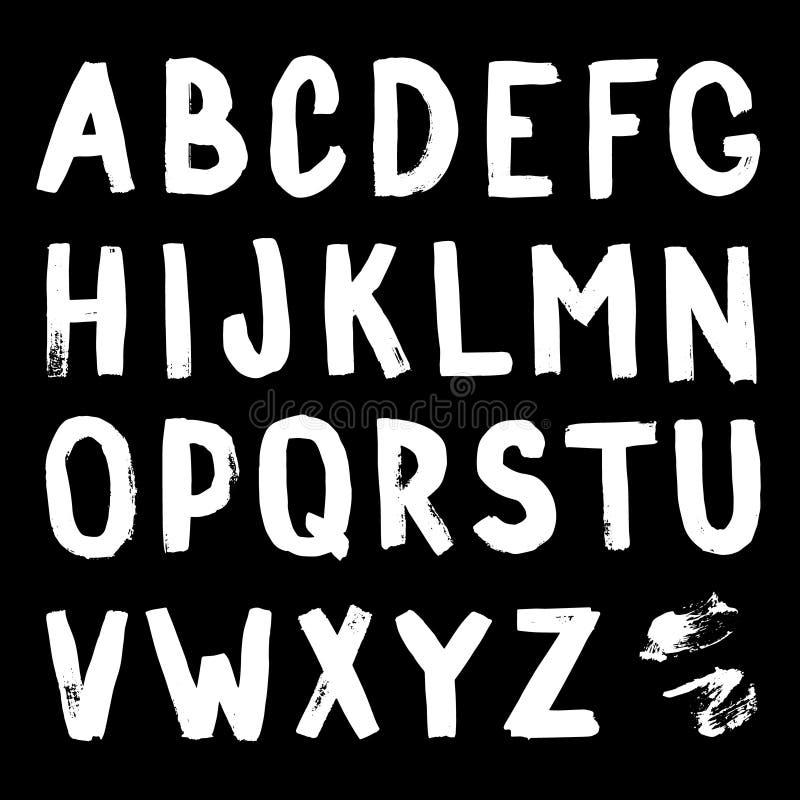 Hand-drawn alphabet. Calligraphy font. Modern brush lettering. Grunge style alphabet. vector illustration