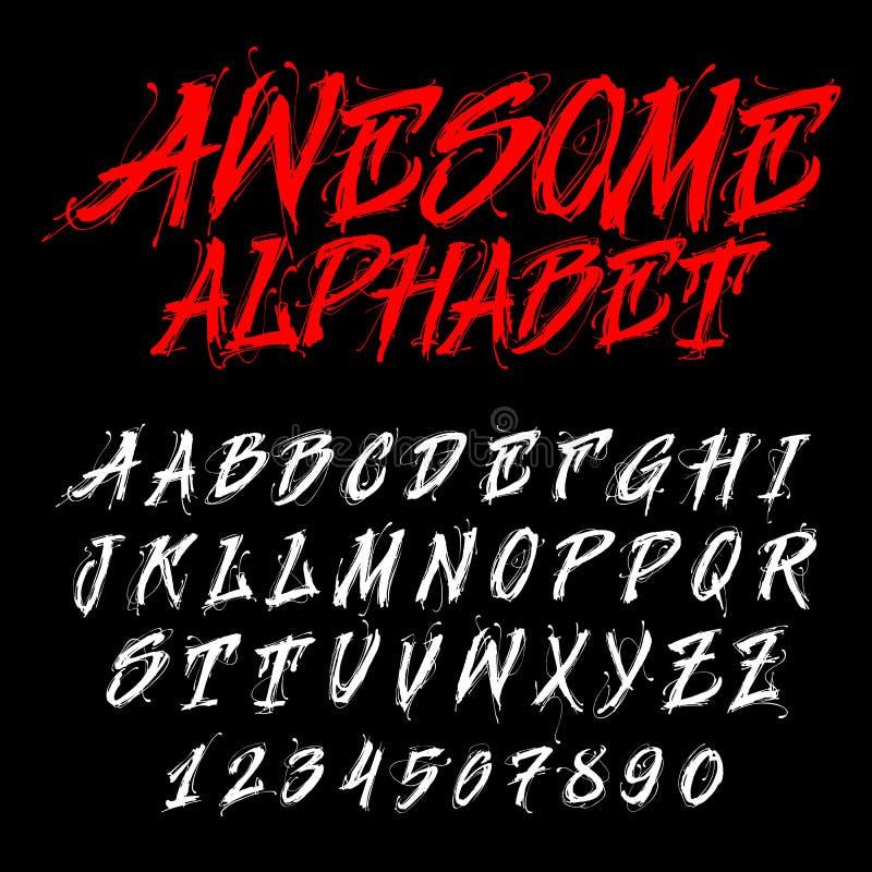Hand drawn alphabet. Dirty font. royalty free illustration