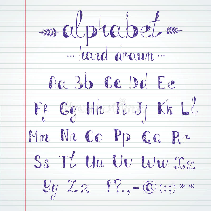 Hand drawn alphabet royalty free illustration