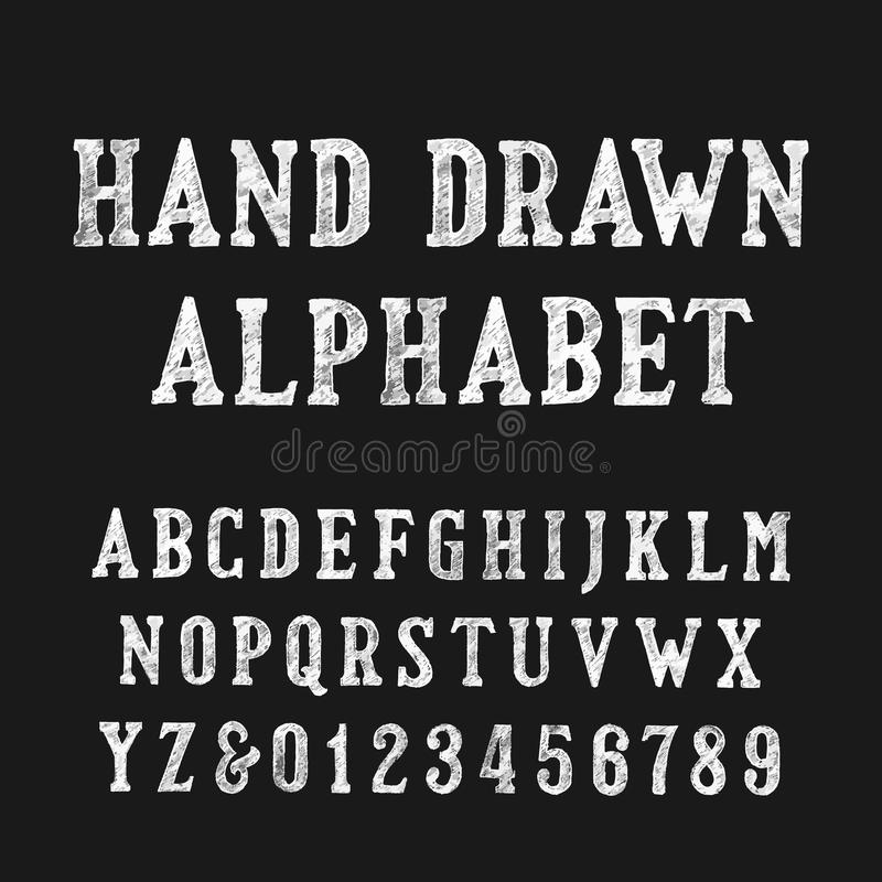 Hand drawn alphabet font. Distressed vintage letters and numbers. stock illustration