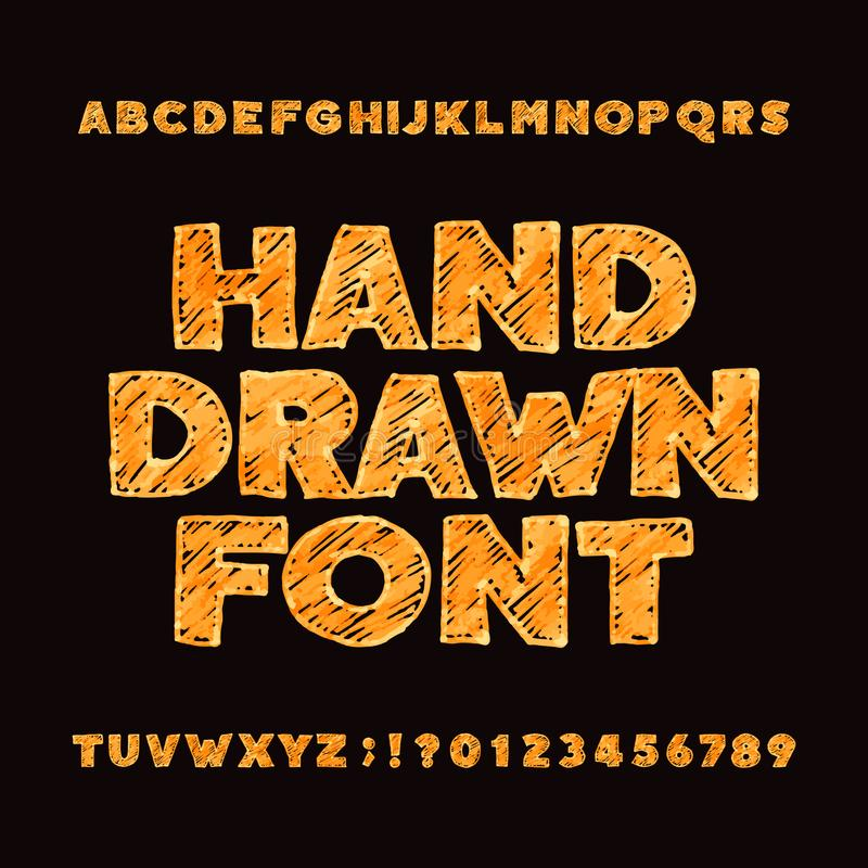 Hand drawn alphabet font. Uppercase messy sketch letters and numbers. royalty free illustration