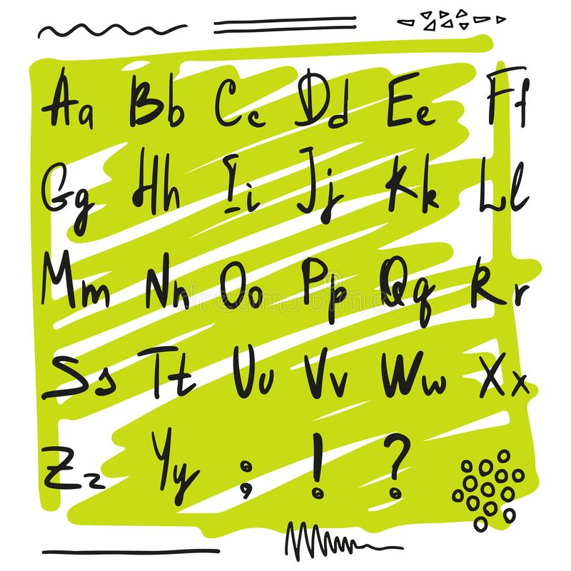 Hand drawn alphabet on the green scribble background. Handwritten abc. Sketch simple style, vector royalty free illustration