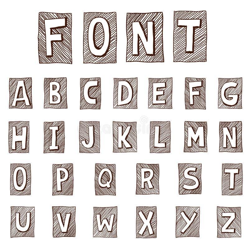 Hand drawn alphabet. Handwritten font - vector illustration