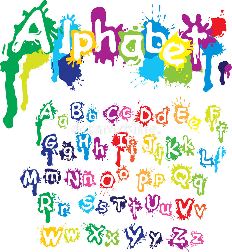 Hand drawn alphabet - letters are made of water c royalty free illustration