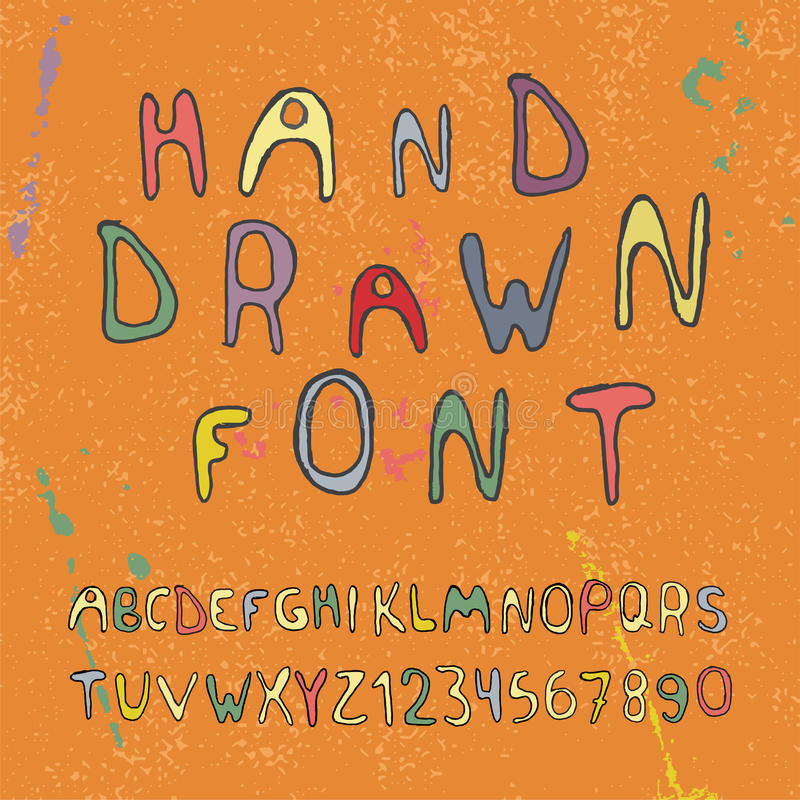 Hand drawn alphabet letters and numbers. Vector stock illustration