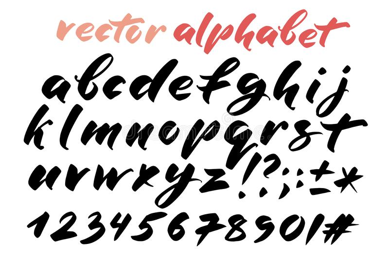 Hand drawn alphabet, marks and numbers. Handwritten lettering in brush style. Modern script in vector. Handmade artistic. Letters and figures for design stock illustration