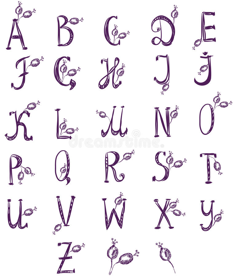 Download Hand drawn alphabet set stock vector. Image of nature - 18199688