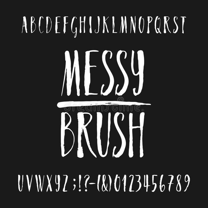 Hand drawn alphabet vector font. Messy brush script letters and numbers. royalty free illustration