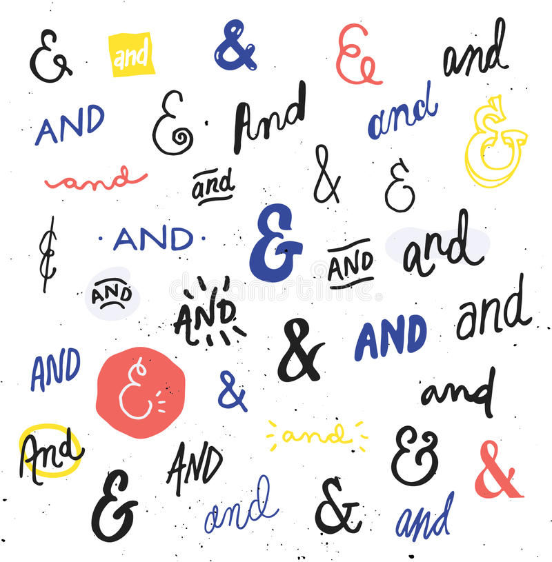 Hand Drawn Ampersands and Catchwords. Hand Drawn And Signs, Ampersands, and Catchwords, doodle, script, typography, overlay, vector design elements royalty free illustration