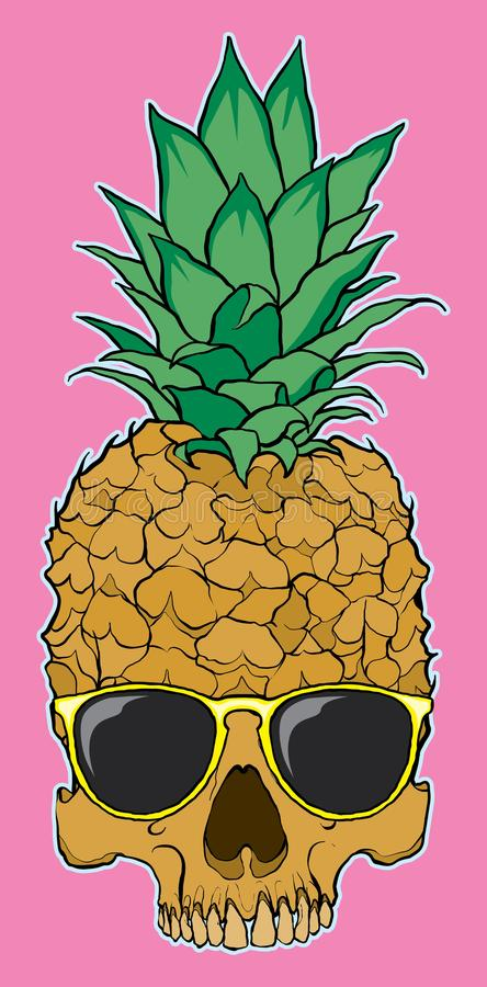 Hand drawn ananas skull with sun glasses vector illustration
