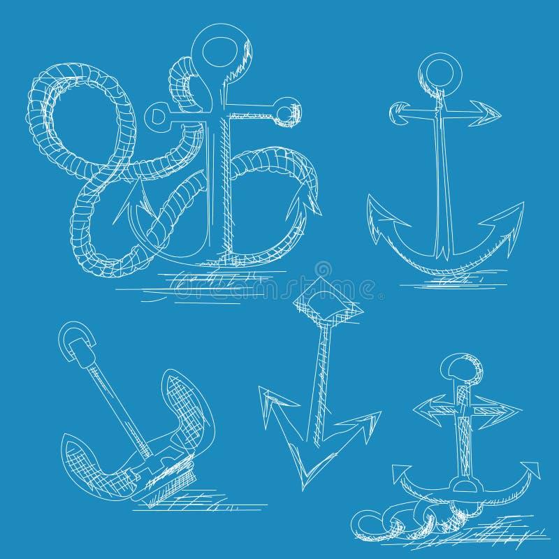 Hand drawn anchors vector illustration