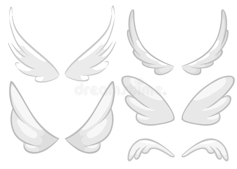 Hand drawn angel, fairy or bird wings set. Outlined drawing elements isolated on white background. Vector illustration royalty free illustration