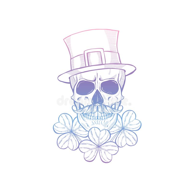 Hand drawn angry skull of leprechaun royalty free stock images