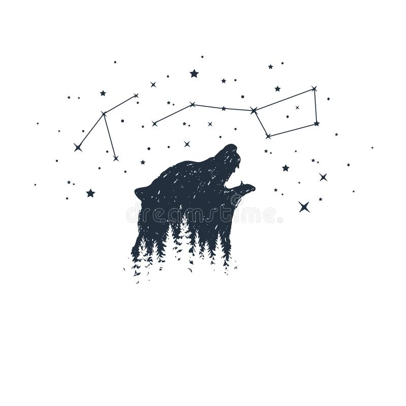 Hand drawn animal and constellation vector illustrations. stock illustration