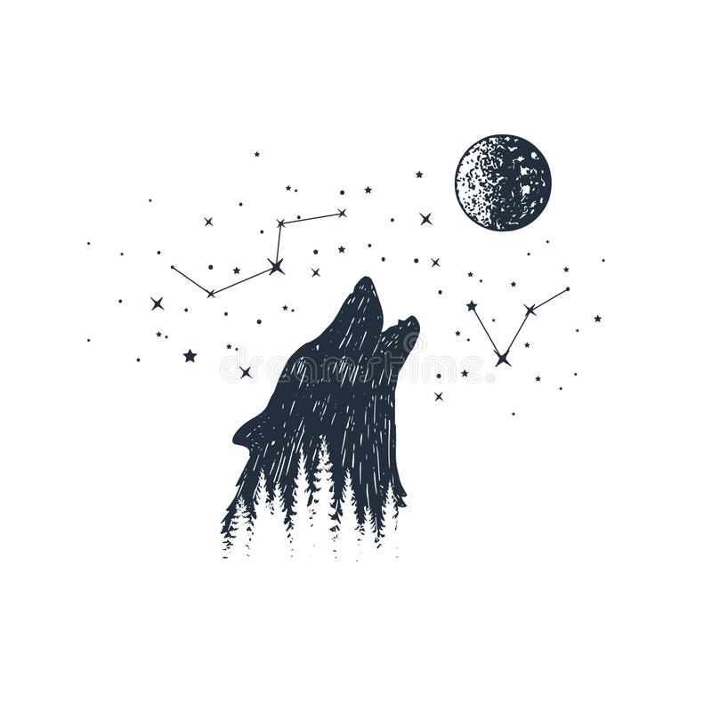 Hand drawn animal and constellation vector illustrations. royalty free illustration