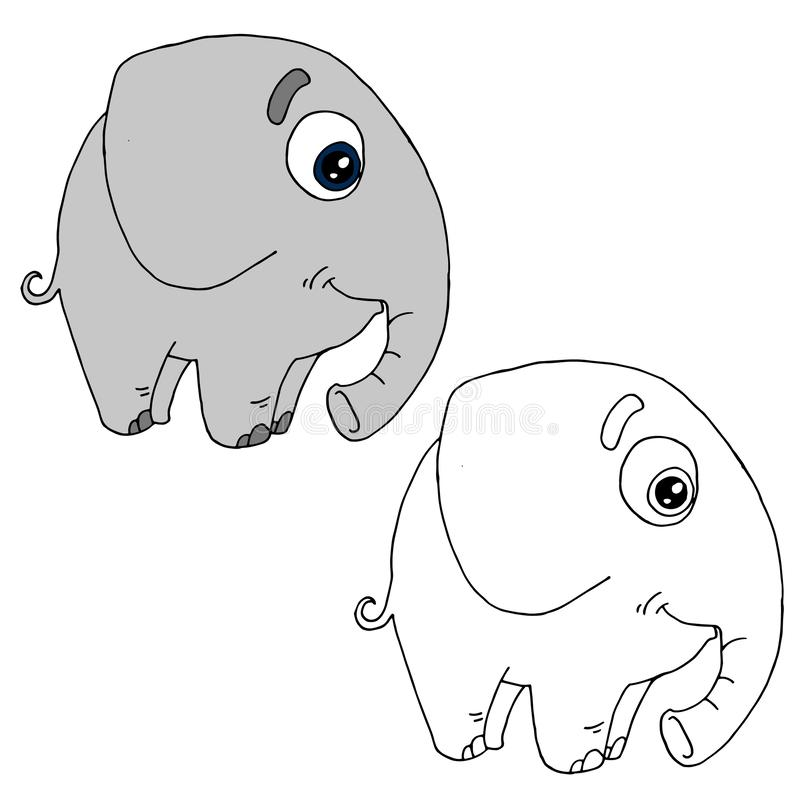Baby Elephant  Outline Drawing Stock Vector - Illustration of