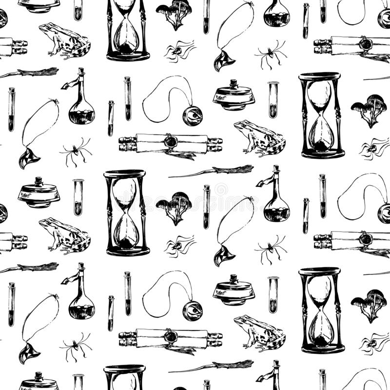 Hand drawn antique magic seamless pattern. Vector sketch endless illustration with amulet, hourglass, scroll, spider, frog. vector illustration