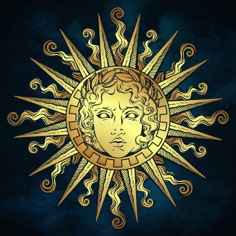 Hand drawn antique style sun with face of the greek and roman god Apollo over blue sky background. Flash tattoo or fabric print de stock illustration