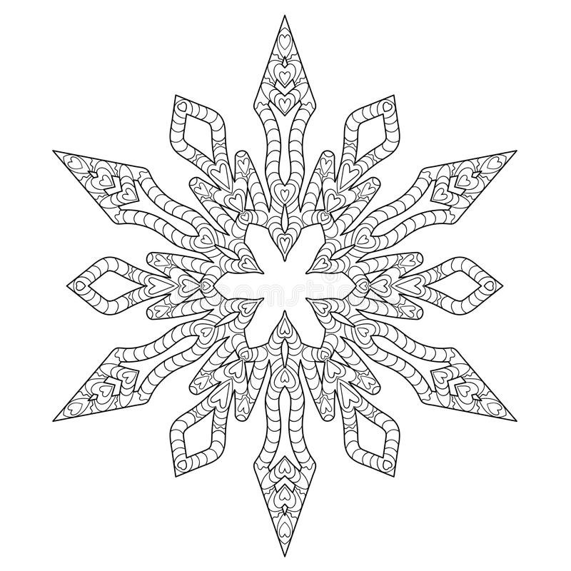 Hand Drawn Antistress Snowflake. Stock Vector - Illustration of ...