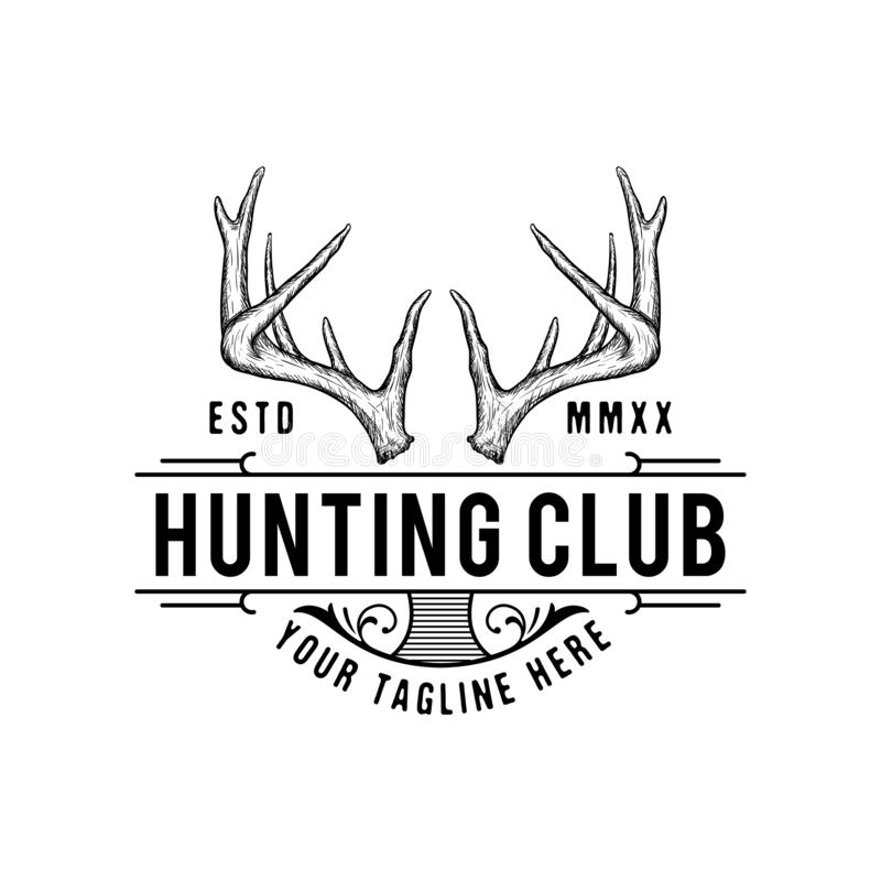 Handrawn antler vector, Hunting logo design inspiration royalty free illustration