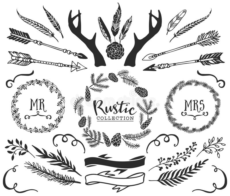 Hand drawn antlers, arrows, feathers, ribbons and wreaths. With lettering. Rustic decorative vector design set. Vintage ink illustration vector illustration