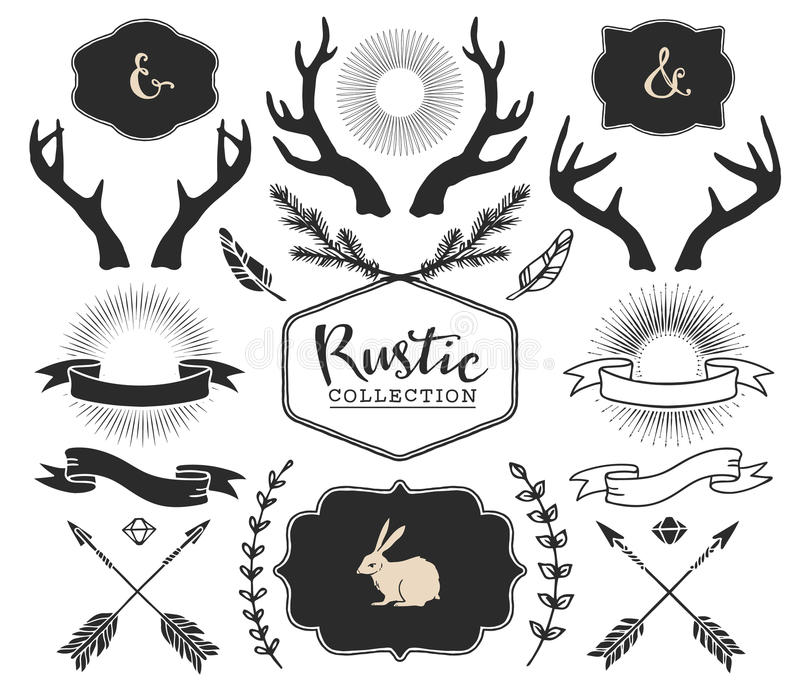 Hand drawn antlers, bursts, arrows, ribbons and frames. With lettering. Rustic decorative vector design set. Vintage ink illustration royalty free illustration